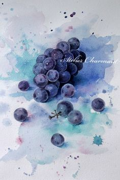 Botanical life of Atelier Charmant: grapes of Herend Watercolor Fruit, Watercolor Tips, Fruit Painting, Watercolor Animals, Watercolor Flowers, Watercolor Paintings, Painting Art, Art Aquarelle, Colored Pencil Techniques
