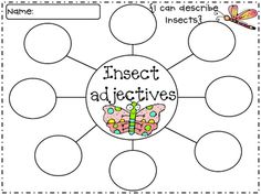 "After they illustrated, it was time to brainstorm some adjectives to describe their insect. They used the word web below for this activity. Then they picked one adjective to complete the sentence, ""The very . . ."""