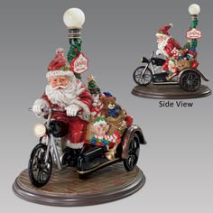 This handcrafted treasure captures the look and feel of a traditional Victorian-era holiday scene, showcasing a red-suited Santa aboard an antique motorcycle with his trusty helper along for the ride in a sidecar. His satchel is bursting with old-fashioned toys for girls and boys and an lamppost is pointing the way to holiday fun. The entire presentation sits on a richly stained mahogany-colored base.