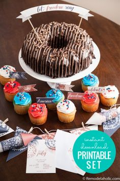 Add some Americana style to all of your barbecues and parties this summer with this easy free printable patriotic party pack, including invitations and decor. Patriotic Party, 4th Of July Party, Fourth Of July, Diy Cake Topper, Cupcake Toppers, Party Invitations, Party Favors, Neighborhood Party, Blue Bunting