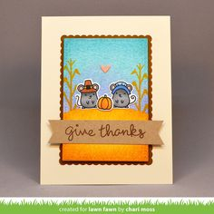 Lawn Fawn - Thankful Mice, Happy Harvest, Stitched Rectangle Stackables, Scalloped Rectangle Stackables, Hearts Lawn Cuts, Walnut Ink _ Thanksgiving Card by Chari for Lawn Fawn Design Team