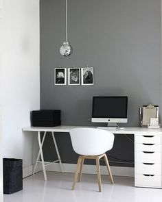 4 Simple and Modern Ideas: Minimalist Bedroom Blue Small Spaces minimalist living room with kids black and white.Minimalist Home Plans Japanese Style minimalist living room small sofas.Boho Minimalist Home Bohemian Bedrooms. Home Office Space, Home Office Design, Home Office Decor, Office Ideas, Office Furniture, Small Office, Grey Desk, White Office, Office Table