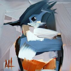 Belted Kingfisher no. 7 original bird oil painting by Angela Moulton