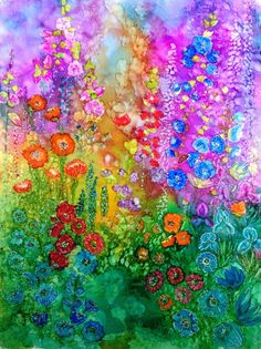 Alcohol ink art. Original abstract painting. Cottage Garden.