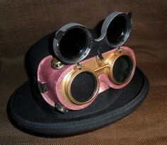 Pink Flip Up Steampunk Goggles, $20. SOLD, can be made again