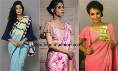 bell sleeves saree blouse designs