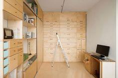 Wall of Birch Drawers with Ladder in Artist's Studio in Tel Aviv, Remodelista