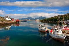 Boat reflections, Lofoten, Norway