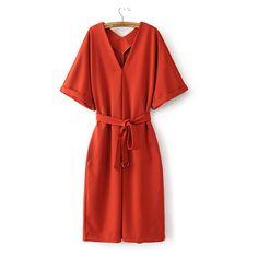 Orange V Neck Loose Kimono Dress (4540 RSD) ❤ liked on Polyvore featuring dresses, loose kimono, v neck dress, cut loose dresses, loose fit dress and v-neck dresses