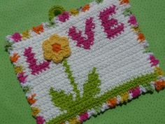 Love is in the Air Potholder Crochet PATTERN by bearsy43 on Etsy