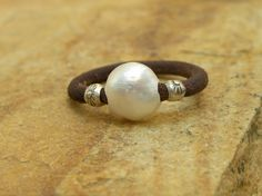 Pearl Sterling Silver Leather Ring Urban Modern by TANGRA2009, $35.00