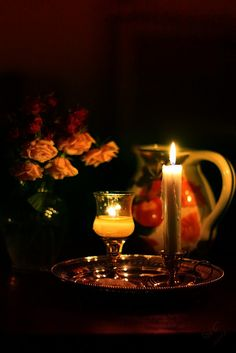 Still life with candles by Oreolla Good Night Blessings, Good Night Wishes, Good Night Sweet Dreams, Light My Fire, Light In The Dark, Chandeliers, Shell Candles, Raindrops And Roses, Romantic Candles