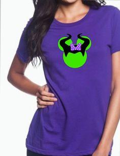 Maleficent Mickey Minnie Mouse Head Disney Inspired T-Shirt, Disney Villain Inspired Shirt, Vacation Glitter Womens regular and plus size