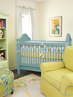 LOVE the yellow & turquoise in this nursery!!!