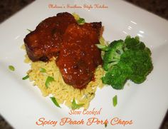 Slow Cooked Spicy Peach Pork Chops - If you're a fan of slow cooking these tender sweet and spicy pork chops are a real treat. Put all of the ingredients into the slow cooker and let it do the meal time preparation while you're busy about life. The important things in life.