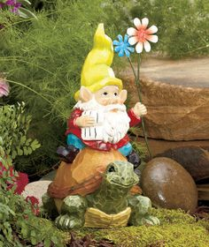 GNOME ON TURTLE FLOWER GARDEN STATUE PORCH PATIO OUTDOOR YARD LAWN HOME  DECOR