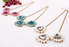 Elegant Exaggeration Alloy Chain Choker Drill Resin Decoration Women Ladies Jewelry Necklace