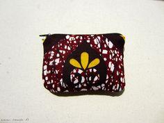 Trousse tissu wax motif africain prune et jaune(envoi 0€) : Trousses par cewax