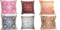 """12"""" SET OF 2 SARI PILLOW CASES WIRE EMBROIDERED INDIAN PILLOW CASE CUSHION COVER #Handmade"""