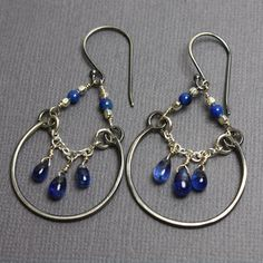 Kyanite and Lapis Chandelier Earrings Chandelier Earrings