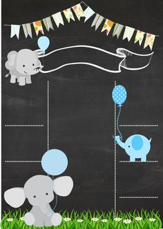 Chalkboard format with elephant and celestial theme - Elefantes bebé - Baby Imprimibles Baby Shower, Baby Shower Invitaciones, Scrapbooking Image, Babyshower Party, Baby Frame, Baby Shawer, Girl Baby Shower Decorations, Birthday Chalkboard, Welcome Baby