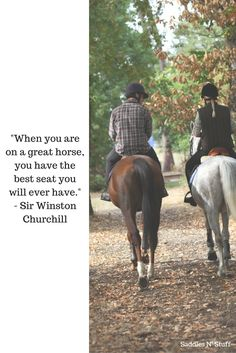"""When you are.on a great horse, you have the best seat you will ever have."" - Sir Winston Churchill"