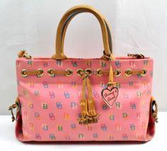 Dooney & Bourke Pink Multi-Color Signature Coated Canvas Shopper Purse Bag