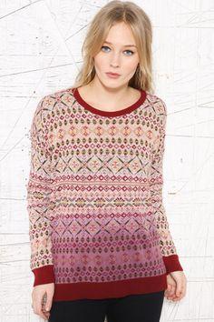 Sparkle & Fade Dip-Dye Fair Isle Sweatshirt at Urban Outfitters Dip Dye, Crochet Top, Knitwear, Urban Outfitters, Sparkle, Colours, Pullover, Knitting, Sweatshirts