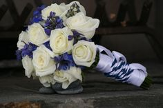 Blue and white brides bouquet. Wedding flowers by Willow Branch Florist of Riverside