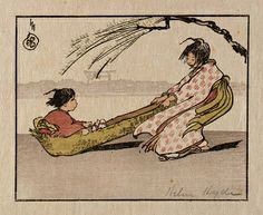 A Windy Ride, Helen Hyde, color woodcut on paper, Smithsonian American Art Museum Geisha Kunst, Geisha Art, Japanese Prints, Japanese Art, Japan Painting, Vintage Artwork, Vintage Illustrations, Children's Book Illustration, Woodblock Print