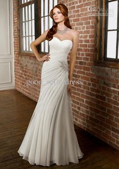 Wholesale 2012 Wedding gown Chiffon Embroidery Sweetheart Beaded Fold Sexy Sleeveless Summer Open back H68, Free shipping, $141.70-161.00/Piece | DHgate