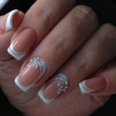 19 Easy and Beautiful Nail Art Designs 2019 just for you trendy nail designs attracted the craze of most women and girls. Nail Art Designs offers a multitude of v … Nail Styles French Manicure Nail Designs, French Nail Art, Nail Art Designs, Fancy Nails, Cute Nails, Pretty Nails, Elegant Nails, Stylish Nails, Nails Design With Rhinestones