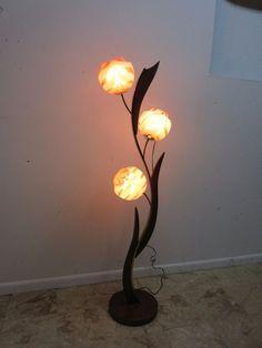 Vintage Mid Century Tiki Italian Murano Glass Brass Floor Pole 3 Way Lamp Atomic