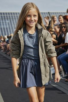 Jacket by You, T-shirt MarMar Copenhagen, skirt by GRO, rooftop catwalk show at CIFF Kids for spring 2015 kidswear