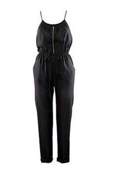 Plus Size Black Lace Up Spaghetti Zip Fashion Club Jumpsuit