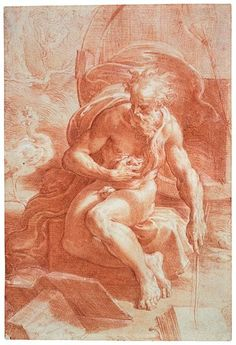 Parmigianino, Diogenes, red chalk heightened with white, 1525 -1527, Morgan Library: