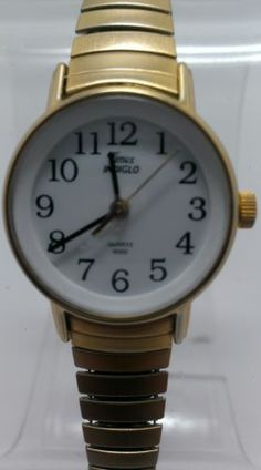 The whole face lights up! You can definitely read this in the dark. Timex Indiglo Gold Tone Stainless Speidel Band Ladies Watch $22.38 #GiftIdeas #FreeShipping #ChristmasBargins #BuyMe