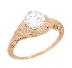 Art Deco White Sapphire Engraved Filigree Engagement Ring in 14 Karat White Gold Filigree Engagement Ring, Deco Engagement Ring, Antique Engagement Rings, Designer Engagement Rings, Filigree Ring, Art Deco Diamond Rings, Diamond Art, Fashion Rings, Opal