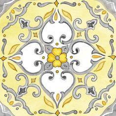 Framed Jewel Medallion yellow gray IV Print