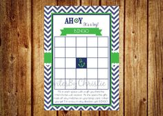 Instant Download Navy and Green Ahoy It's A by InvitesByChristie, $6.00