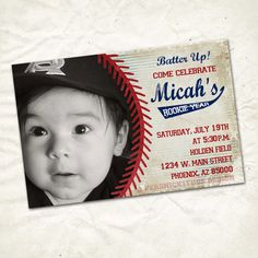 Cute baseball first birthday invite. A popular theme!