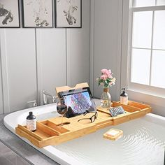 Bathtub Tray & Bed Tray - Upgraded Luxury Design - FREE Soap Dish & Non-Slip Pads, Expandable Multipurpose Bamboo Bathtub Tray for Large Tub, Holds Phone, Tablet and Wine, Essential Bath Accessories - Welcome To Style Zee Shop Bathtub Decor, Bathtub Caddy, Bathtub Tray, Bathroom Caddy, Zen Bathroom, Bathroom Goals, Bathroom Layout, Modern Bathroom, Bamboo Bathroom Accessories