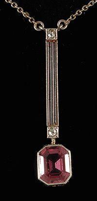 Art Deco Platinum, Gold & Tormaline Pendant 1920