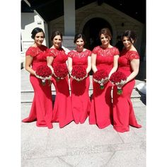 Red Lace Plus Size Bridesmaid Dresses 2015 Sexy Open Back Long Mermaid Short Cap Sleeve Wedding Party Dress Formal Maid Of Honor Gown Custom, $71.97 | DHgate.com