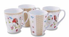 Cooksmart Dawn Chorus Bird Mugs Set Of 4 Porcelain Tea Coffee Drink Gift Mugs Set, Coffee Drinks, Tea, Bird, Tableware, Gifts, Kitchen, Drink, Porcelain