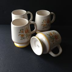 vintage coffee mugs, ceramic retro coffee cups, wedding housewarming gift idea, hot chocolate or tea mugs, vintage drinkware housewares - pinned by pin4etsy.com