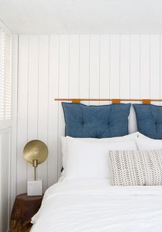 Always wanted the beachy look of white-washed wood in your bedroom? Check out this DIY to bring the look to your home Sarah Sherman Samuel:DIY faux wood paneling White Wood Wall Panels, White Wall Paneling, Wood Panel Walls, Wood Paneling, Bedroom Nook, Bedroom Decor, Bedroom Inspo, Bedroom Inspiration, Master Bedroom