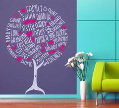 Vinilo decorativo de un árbol formado por palabras de familiares y parentescos.