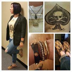 #ootd #outfitpic #WIW. #RalphLauren #DenimAndSupply #skull #tshirt, #LuckyBrand #boyfriendjeans, #Aqua #blazer, #bcbg #shoes, #stelladot #bracelets. #snakebracelet #skullnecklace #statementtee #armswag #casual #falltrends #fashionista #instafashion #potd. #trustintricia #WardrobeConsultant #FashionStylist #PersonalStylist