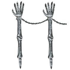 Silver Skeleton Hand Lawn Stakes - Set of 2